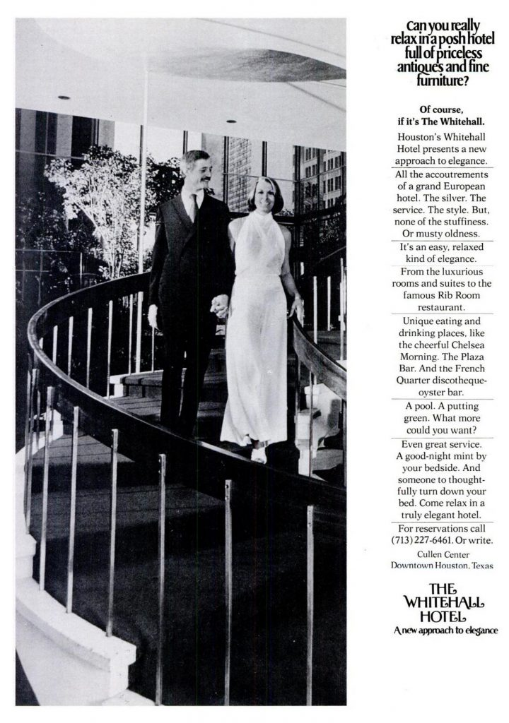 1975 ad for The Whitehall in Houston